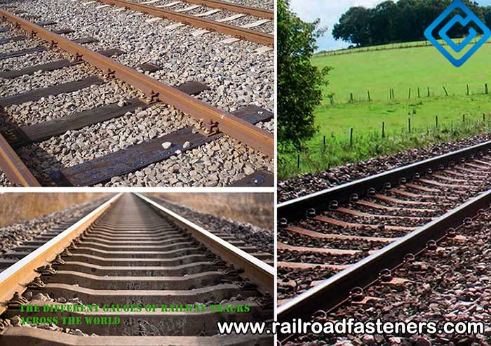 track gauge of main countries with types of railway track