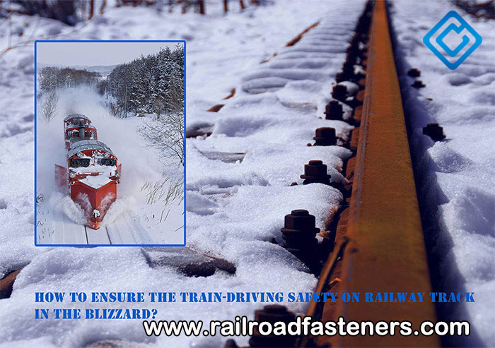 Train driving in blizzard
